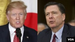 FILE - Presiden AS Donald Trump (kiri), dan mantan Direktur FBI James Comey (kanan).