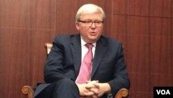 前澳大利亞總理陸克文(美國之音莉雅拍攝)