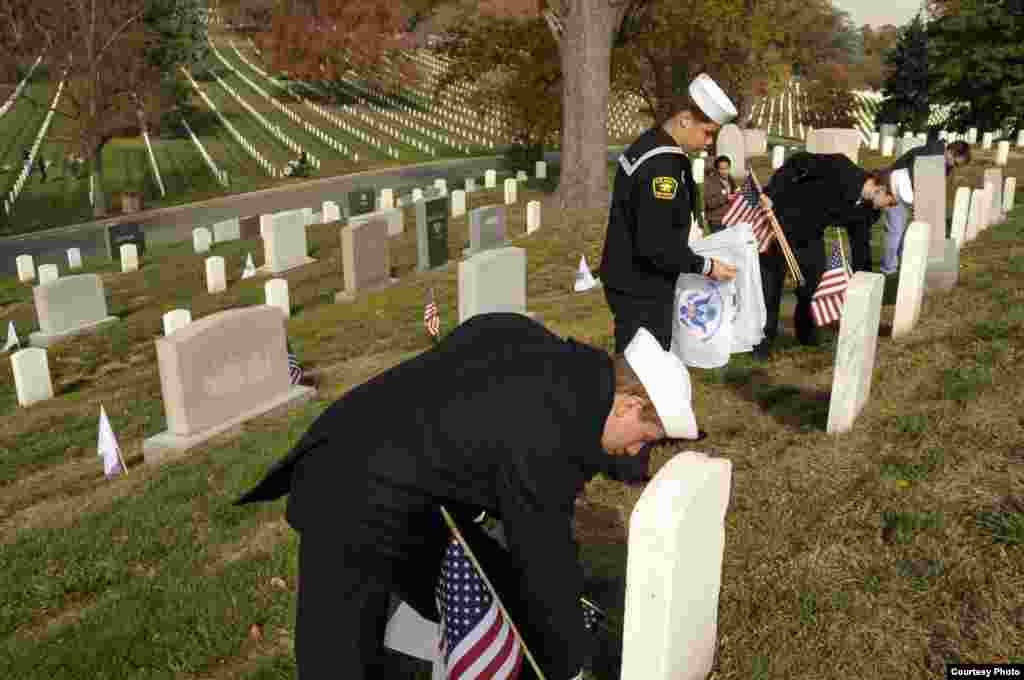 Members of the U.S. Naval Sea Cadet Corps take part in the Flags Across America event at Arlington National Cemetery in Arlington, Va., Nov. 10, 2012. (Coast Guard / Petty Officer 3rd Class Lisa Ferdinando)