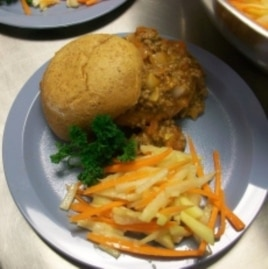 A sloppy Joe and jicama apple salad make up the winning student chef entry in the Iron Chef School Lunchroom competition.