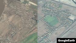마을이 폐허가 된 회령시의 모습(왼쪽)과 지난해 10월의 모습.
