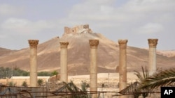 This photo released on Sunday March 27, 2016, by the Syrian official news agency SANA, shows a general view of Palmyra citadel, central Syria.