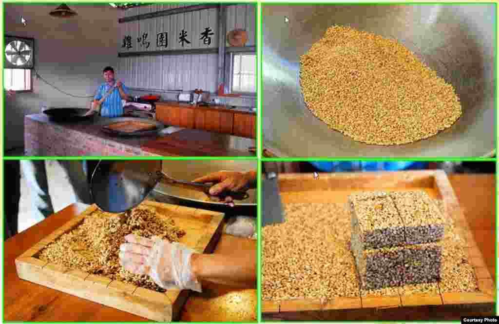 羅東農戶在製作有機炒米(花蓮縣政府農業處提供)