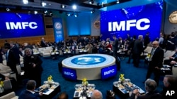 FILE: The International Monetary and Financial Committee conference is held at the World Bank/IMF spring meetings, in Washington, April 21, 2018.