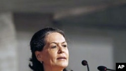 India's ruling Congress party president Sonia Gandhi, addresses a dinner to mark the government's second anniversary in New Delhi, India, May 22, 2011