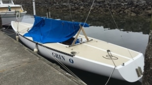 Team Grin plans to race to Alaska in this Etchells 22, currently moored in Port Townsend, Washington. (Tom Banse/VOA)