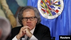 FILE - Secretary General of the Organization of American States (OAS) Luis Almagro attends a news conference, Aug. 8, 2015.