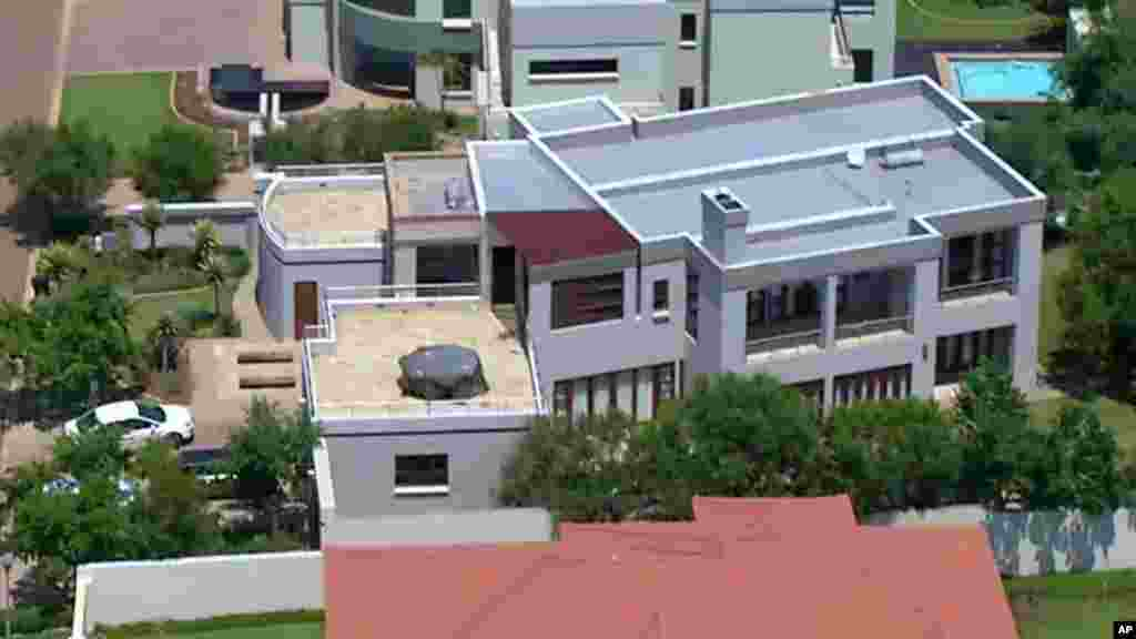 This aerial image taken from video provided by VNS24/7 shows the home of Oscar Pistorius in a gated housing complex in Pretoria, Feb. 14, 2013.