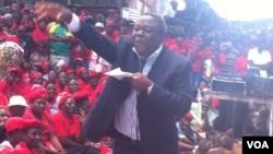 Former Prime Minister Morgan Tsvangirai addressing some supporters Thursday in Harare. (Photo: Thomas Chiripasi)