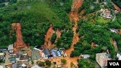 Hampir 500 tewas dan ratusan lainnya kehilangan tempat tinggal akibat longsornya wilayah perbukitan di Teresopolis, dekat Rio de Janeiro.