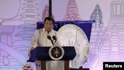 FILE - Philippine President Rodrigo Duterte speaks during the Philippines' ASEAN Chairmanship launch at SMX Convention Center in Davao city, southern Philippines, Jan. 15, 2017.