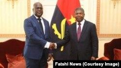 Président Félxi Tshsiekedi apesi mbote na président ya Angola João Lourenço na Luanda, Angola, 5 février 2019. (Twitter/Fatshi News)