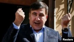 Former Georgian President Mikheil Saakashvili speaks during a press conference in Lviv, Ukraine, Sept. 11, 2017.
