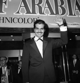 FILE - Sharif arrives for the 'Lawrence of Arabia' premiere in Hollywood in 1962.