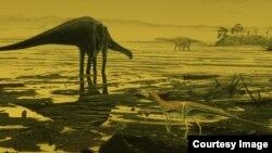Sketsa artis dinosaurus jenis sauropod (foto: ilustrasi).