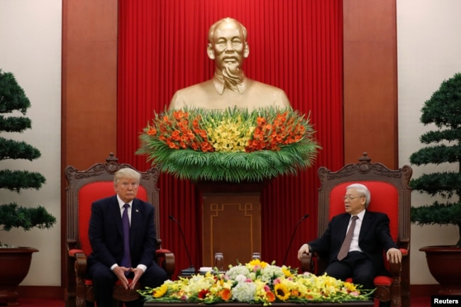 Vietnam 's Communist Party Secretary General Nguyen Phu Trong and U.S. President Donald Trump hold a bilateral meeting at Communist Party Headquarters in Hanoi, Vietnam, Nov. 12, 2017.