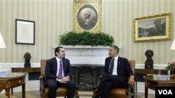Presiden Barack Obama bertemu dengan PM Lebanon Saad Hariri di Gedung Putih, Washington, Rabu, 12 Januari 2011.