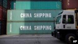 美國喬治亞州薩瓦納港口的中國集中箱(資料照 )