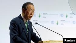 លោកអគ្គលេខាធិការអ.ស.ប. បាន គីមូន ថ្លែងសុន្ទរកថាសម្រាប់ថ្ងៃបើកសន្និសីទបម្រែបម្រួលអាកាសធាតុពិភពលោក២០១៥ (COP21) នៅឯBourget, ក្បែរទីក្រុងប៉ារីស ប្រទេសបារាំង ថ្ងៃទី៣០ វិច្ឆិកា ឆ្នាំ២០១៥