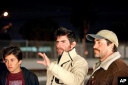 "Jose Julian, director Chris Weitz and Demian Bichir on the set of ""A Better Life"""