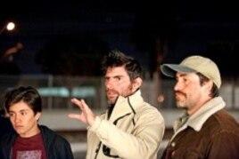 """Jose Julian, director Chris Weitz and Demian Bichir on the set of """"A Better Life"""""""