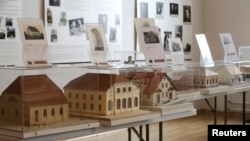 Models of synagogues are displayed in the Riga Ghetto and Latvian Holocaust Museum in Riga, Latvia, Feb. 27, 2015.