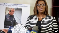 New York City Public Advocate Letitia James holds a news conference Thursday, Aug. 21, 2014, to unveil a proposal that would require police to wear body cameras. (AP Photo/Vanessa A. Alvarez)