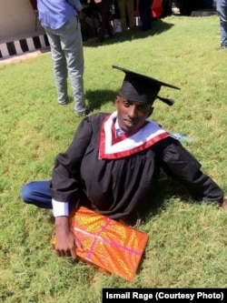 Somalian Ismail Rage, 22, did not let his disability -- his legs were paralyzed after he contracted polio at the age of 3 -- keep him from his goal of graduating from Simad University in Mogadishu. He received a bachelor's degree in banking and financing.