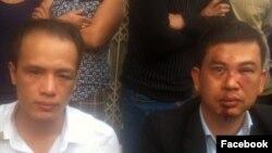 Luật sư Trần Thu Nam (phải) và Luật sư Lê Văn Luân sau khi bị hành hung. Vụ việc xảy ra hôm 3/11 khi luật sư Nam và Luân tới nhà bà Đỗ Thị Mai, mẹ của thiếu niên Đỗ Đăng Dư, bị tử vong trong lúc bị giam giữ.