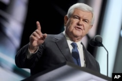 FILE - Newt Gingrich speaks at The Republican National Convention, July 20, 2016.