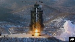 In this Dec. 12, 2012 file image made from video, North Korea's Unha-3 rocket lifts off from the Sohae launching station in Tongchang-ri, North Korea.