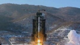 North Korea's Unha-3 rocket lifts off from the Sohae launching station in Tongchang-ri, Dec. 12, 2012.