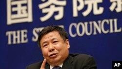 中國財政部副部長朱光耀在北京國務院新聞辦公室就美中貿易問題舉行的記者會上講話。(2018年4月4日)