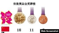 伦敦奥运会奖牌总量的截图
