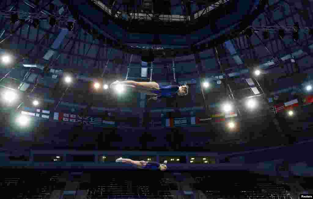 Portugal's Silvia Saiote and Beatriz Martins compete in the Women's Synchronized Trampoline Gymnastics final at the 2019 European Games in Minsk, Belarus, June 25, 2019.