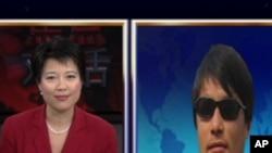 陈光诚首次直播上电视 接受VOA卫视采访