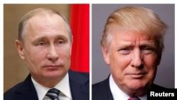 Presiden Rusia Vladimir Putin (kiri) dan Presiden Amerika Donald Trump.