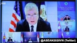 2020年9月11日美國副國務卿比根參加美湄公河夥伴關係部長級虛擬會議