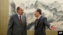 2018年5月14日,中国国家副主席王岐山在北京中南海会见巴西外交部长努内斯。