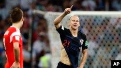 Hrvatski reporezentativac Domagoj Vida proslavlja gol koji je postigao protiv Rusije u četvrtfinalu Svetskog kupa (Foto: AP /Rebecca Blackwell)