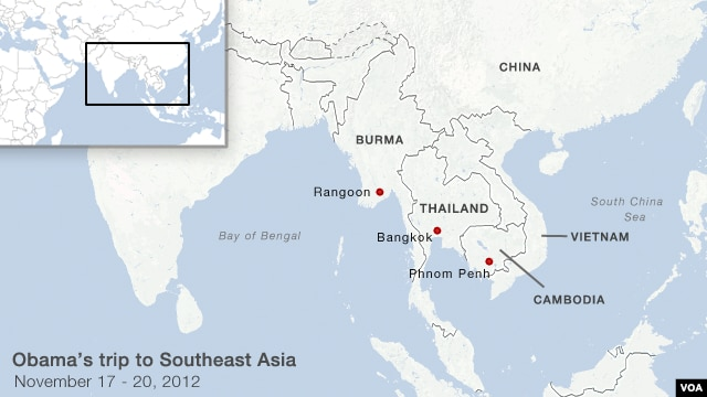 President Obama's stops in Burma, Thailand and Cambodia.