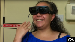 Julissa Marquez with her new pair of eSight glasses.