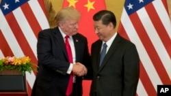 2017年11月9日特朗普总统和中国国家主席习近平在人民大会堂握手