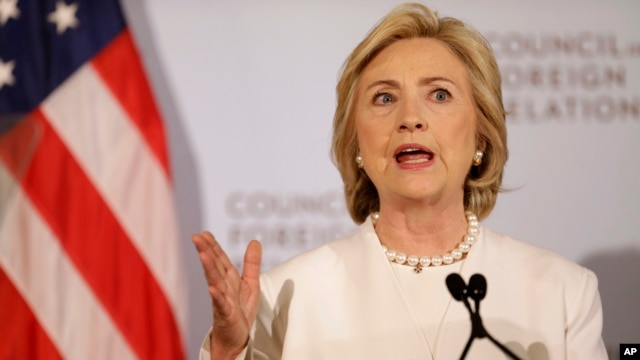 FILE - Democratic presidential candidate Hillary Clinton speaks at the Council on Foreign Relations in New York.
