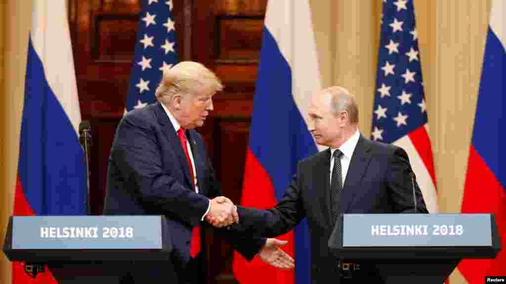 پرزیدنت ترامپ در نشست خبری مشترک گفت: «من امروز برای تداوم سنت افتخار آمیز و شجاعانه دیپلماسی آمریکا ، این جا هستم. از اولین روزهای جمهوری ما، رهبران آمریکا درک کردند که دیپلماسی و تعامل بر تنش و تخاصم ارجحیت دارد.»