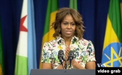 米歇尔•奥巴马对500名非洲青年领袖计划的参加者发表讲话