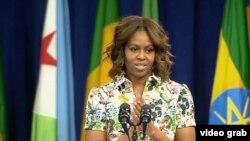 米歇爾‧奧巴馬對500名非洲青年領袖計劃的參加者發表講話