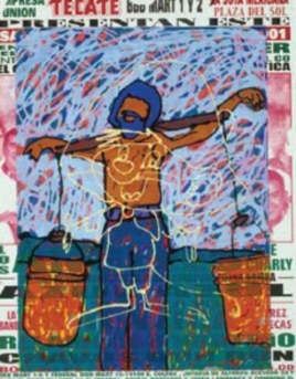 The ghostly outline of Speedy is superimposed over Tony Ortega's image of a laborer as a martyr.