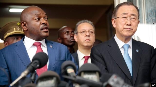 U.N. Secretary-General Ban Ki-moon, right, listens as Burundi's President Pierre Nkurunziza speaks during a joint press conference in Bujumbura, Burundi, Feb. 23, 2016.