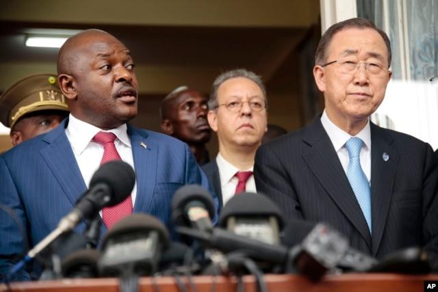 U.N. Secretary General Ban Ki-moon, right, listens as Burundi's President Pierre Nkurunziza speaks during a joint press conference in Bujumbura, Burundi, Feb. 23, 2016.